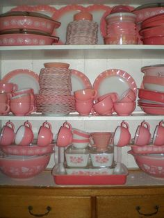 Vintage pink Pyrex collection