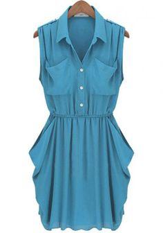 Lake Blue Draped Chiffon Dress