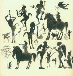 """Milton Glaser - Push Pin Graphic. Pan studies, pen and ink, ink wash. 14"""" × 12"""", 1971."""