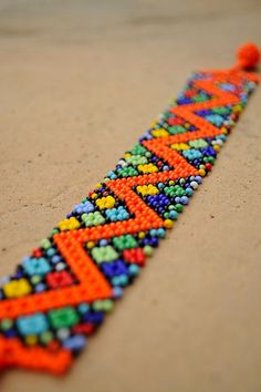 Orange Zigzag BraceletAfrican beaded by akwaabaAfrica on Etsy Beaded Jewelry Patterns, Beading Patterns, Beaded Choker Necklace, Beaded Bracelets, Expensive Jewelry, Native American Beading, Tribal Jewelry, Loom Beading, Bead Art