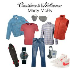 """""""Countdown to Halloween: Marty McFly"""" by zerouv on Polyvore: PREMIUM AVIATOR SUNGLASSES SPRING HINGES 8952 Retro Halloween, Cute Halloween Costumes, Casual Cosplay, Cosplay Outfits, Up Costumes, Costume Ideas, Movie Character Costumes, Marty Mcfly, Nyc"""
