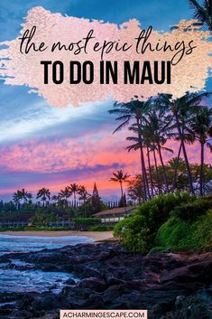 The Most Epic Things to do in Maui. This is my guide to the best things to do in Maui! From turquoise waters to dramatic landscapes, and vibrant sunsets, Maui has so much to offer. Watch a sunrise atop Haleakala, take the scary road to Hana, swim in deep blue waters, hike among lush greenery and forests. | Maui Itinerary | Maui Activities | Maui Must Dos | What to do in Maui | #hawaii #maui Hawaii Travel Guide, Usa Travel Guide, Travel Usa, Vacation Places In Usa, Places To Travel, Travel Destinations, Hawaii Honeymoon, Maui Hawaii, Haleakala Sunrise