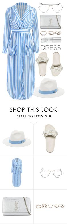 """Remember.."" by smartbuyglasses ❤ liked on Polyvore featuring Melissa Odabash, Puma, Ray-Ban, Yves Saint Laurent, GUESS, white, Blue and easydresses"