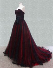 Discount gothic wedding dresses Color Wedding Dresses 2015 A Line Strapless Black and Red Tulle Sweep Train Gothic Bridal Gowns