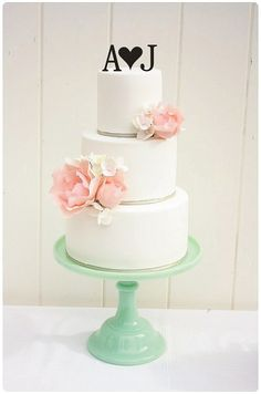 Personalized Heart Monogram Wedding Cake Topper with YOUR Initials