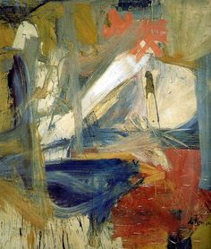 Willem de Kooning.  When first seeing it, I saw a blue chair. Love abstract art for this reason.