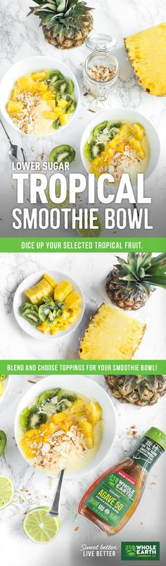 This Tropical Smoothie Bowl recipe is a bright, fresh start to any morning. Created by blogger Christine, from Apple of My Eye, this recipe is made with fresh seasonal fruits and a whole lot of yum. The base of the bowl is joined with Whole Earth Sweetener Agave 50. This tasty sweetener is made with a blend of organic blue agave and organic stevia, is non-GMO, USDA Organic, gluten-free, and preservative free. It also has fewer calories per serving than traditional agave. Aloha breakfast!