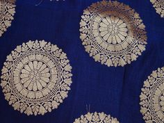 Navy Blue Brocade Fabric by the yard by Indianlacesandfabric
