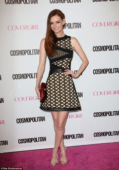 Classic look:Lydia Hearst modelled a chic A-line designed skirt on her black dress
