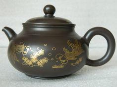 Chinese Yixing Zisha Pottery Teapot Tea Pot,Dark Purple,Goldfish Pattern,200 cc picclick.com