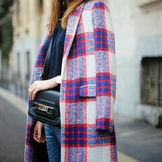 Zara Plaid Coat, Bloggers Favorite! In excellent used condition! Worn twice last winter! Loved by countless bloggers! Zara Jackets & Coats