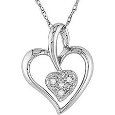 @Overstock - Charming 'two of hearts' pendant sparkles with icy diamondsPretty white gold necklace is perfect for romantic occasionsNecklace chain and heart pendant made of 10-karat white goldhttp://www.overstock.com/Jewelry-Watches/10k-White-Gold-Diamond-Heart-Necklace/3097192/product.html?CID=214117 $89.99