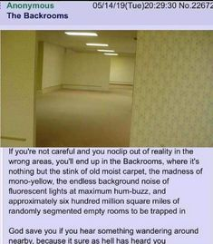 Anonymous The Backrooms If you're not careful and you noclip out of reality in the wrong areas, you'll end up in the Backrooms, where it's nothing but the stink of old moist carpet. the madness of mono-yellow, the endless bac