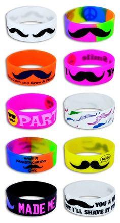 Neon Mustache Wristbands | kipptoys.com