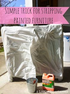 To strip furniture indoors, remove paint with Citrustrip and cover with a garbage bag. To strip furniture indoors, remove paint with Citrustrip and cover with a garbage bag. Stripping Furniture, Stripping Paint, Painted Furniture, Refurbished Furniture, Painted Chairs, Repurposed Furniture, Do It Yourself Furniture, Do It Yourself Home, Furniture Makeover