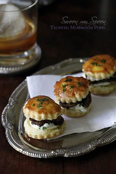 Truffled Mushroom Puffs with Herbed Goat Cheese