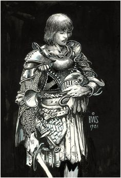 Armored Young Knight by Barry Windsor-Smith, 1981