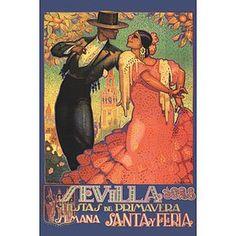 Poster ... fiestas de Sevilla ... flamenco dancers ...