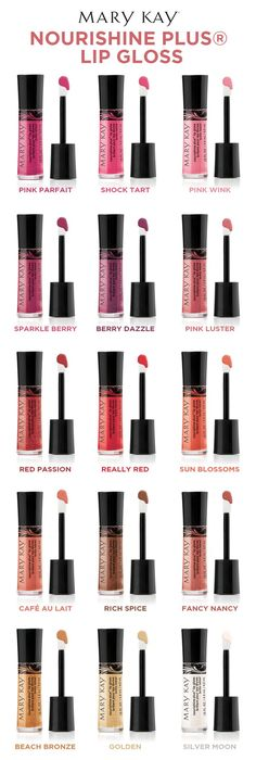 What's your lip gloss personality? With 15 different shades of lip gloss in a range of finishes, you're sure to pick more than one. | Mary Kay. Click on the picture for more details! http://www.marykay.com/Clairamae/en-US/
