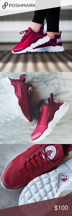 """Nike Air Huarache Ultra Sneakers •The Nike Air Huarache Ultra Womens Shoe is crafted with a stretchy one-piece upper, seamless molded details and an ultra-lightweight outsole for a streamlined look and easy packing into your bag. Color is """"Noble Red •Women's size 6.5, true to size. •New in box (lid has been removed). •NO TRADES/HOLDS/PAYPAL/MERC/VINTED/NONSENSE. Nike Shoes Sneakers"""