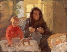 """Grandmother With Her Grandchildren"" by Anna Ancher (1859 – 1935, Danish)"
