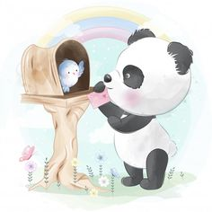 Little Bear Gives Love Letter To Bird Niedlicher Panda, Cute Panda, Cute Fox, Cute Bunny, Boat Cartoon, Cute Cartoon, Baby Animal Drawings, Cute Drawings, Little Elephant