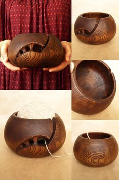 Large Size 7 inches by 4 inches Premium Wooden Yarn Bowl For Knitting And Crochet Durable and Portable Yarn Storage for Knitters