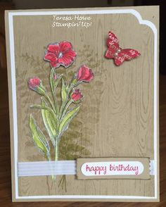 Stampin Up Butterfly Basics stamp set card with Hardwood background
