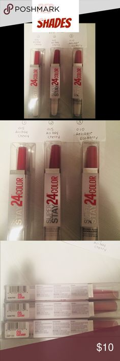 Maybelline Super Stay 24 Lip Color. 3avail. NWT! 3 shades. Can be bought as a set of 3 for 5% off.   Maybelline Super Stay 24 Lip Color. With a simple 2-step process, the tone will keep your mouth beautiful while emitting a magnetic vibe. After the primary layering, wait two minutes and then perfect your style with the conditioning balm.   Features & Benfits: Formula with micro-flex looks & feels fabulous after 24 hours. No crumbling, no caking, no fading, no feathering, no transferring…