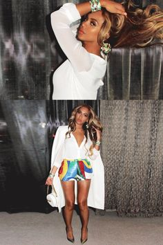 A sartorial ode to Las Vegas, Bey wears the grooviest rainbow sequin hot pants with a silk white blouse and long jacket worn on the shoulders, cape-style. Just brilliant.   - MarieClaire.com