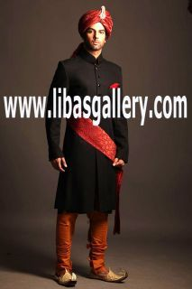 Captivating Dark Color Groom sherwani long with churidar pajama and turban complete set UAE,Dubai,Sharjah,Ajman #groom #couture #indian #Menswear #Sherwani #Elegant #Bespoke  #NewArrivals #SherwaniSuit For #Mens #Designer #weddingsherwani   Online Shopping #UK #USA #Canada #Australia #SaudiArabia #Bahrain #Kuwait #Norway #Sweden #NewZealand #Austria #Switzerland #Germany #Denmark #France #Ireland #Mauritius and #Netherlands ❤ See more: www.libasgallery.com
