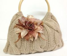 Your place to buy and sell all things handmade Love Knitting Patterns, Knitting Ideas, Cable Stitch Knit, Hand Knit Bag, Handmade Handbags, Taupe Color, Knitted Bags, Purses And Bags, Elsa