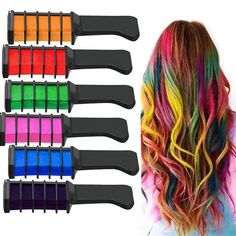 Magic Temporary Rainbow Hair Chalk Dye Powder With Comb Cream Salon Hair Crayons Dye My Hair, Your Hair, Cosplay, Salon Party, Pelo Multicolor, Temporary Hair Dye, Best Temporary Hair Color, Hair Color Cream, Mascara Brush