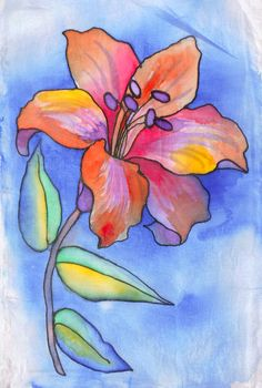 Malowanie na jedwabiu Watercolor Flowers, Watercolor Paintings, Plaster Art, Alcohol Ink Crafts, Flower Sketches, Tropical Art, Painting For Kids, Fabric Painting, Easy Drawings