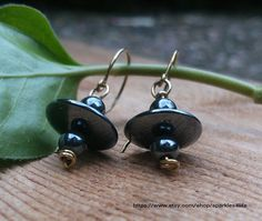 Hematite Dangle Earrings Wrapped Brass Wire by sparkles4life, $17.05