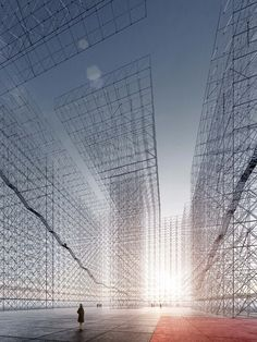 Avant-garde 'horizontal skyscrapers' re-imagined with scaffolding and LEDs