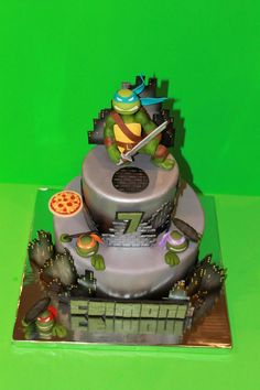 Teenage Mutant Ninja Turtle Cake *TMNT Cake. Cake is completely edible and hand sculpted. Perfect for this 7 year old boy!