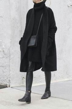 Warm winter outfits that are still chic - society. All Black Outfits For Women, Black And White Outfit, Clothes For Women, Black Coat Outfit, Black Boots, Dress Black, Black And Black, All Black Clothing, All Black Style