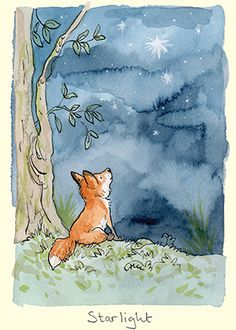M274 Starlight, A Greeting Cards by Anita Jeram Visit www.twobadmice.com to see hundreds of images by Anita Jeram. Ideal starting place to find cards and a gifts for animal lovers