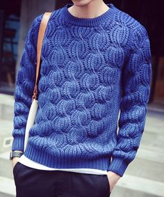 Modish Round Neck Stereo Jacquard Long Sleeve Sweater For Men