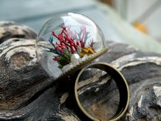 Coral Reef Glass Globe Ring by ThePurpleArtichoke7 on Etsy