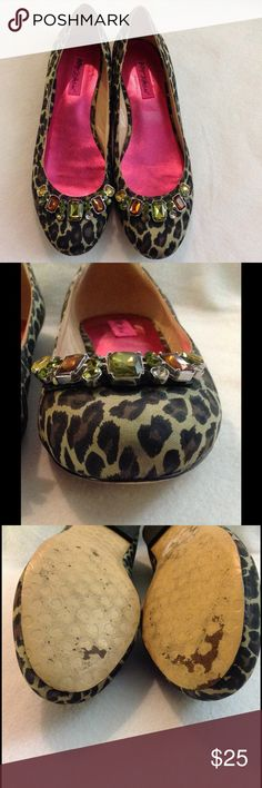 Betsey Johnson flats Leopard print. Fabric upper. Leather sole. Missing 3 small green rhinestones. Small dirt stain on the tip of the left shoe (pic 2), but hard to notice due to the leopard print. Betsey Johnson Shoes Flats & Loafers