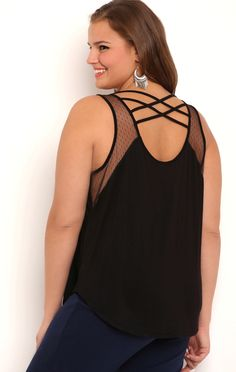 Deb Shops Plus Size High Low Tank Top with Mesh Cross Straps $11.25