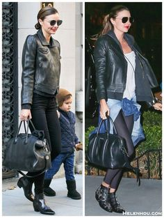 how to wear all black, how to wear leather jacket, workout outfits,  Miranda Kerr, street style, fall/winter,  leather jacket, ankle boots, studded boots, denim shirt, Givenchy Antigona bag, Givenchy Lucrezia, Frame Denim, skinny jeans, sunglasses, saint laurent,  On Miranda Kerr:Givenchy Antigona Satchel Bag, Frame Denim Le Luxe Noir stretch-satin twill skinny jeans,SAINT LAURENT  ankle boots, aviator sunglasses, On Miranda Kerr:Givenchy Lucrezia Satchel Bag,CHLOÉ Susanna studded leather…