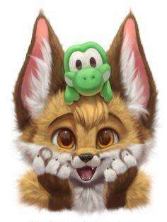 Cute Animal Drawings Kawaii, Cute Cartoon Animals, Anime Animals, Kawaii Drawings, Cute Drawings, Cute Fantasy Creatures, Cute Creatures, Cute Pomeranian, Rare Animals