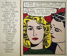 Roy Lichtenstein 1962 - DIPTYCH (EDDIE) - Oil on canvas
