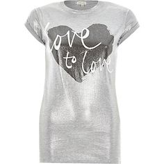 Grey love to love printed fitted t-shirt £18.00