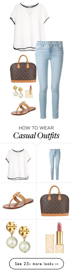 """casual day"" by kcunningham1 on Polyvore featuring Violeta by Mango, Frame Denim, Louis Vuitton and Tory Burch"