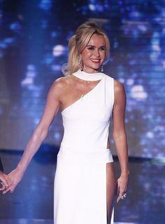 "Amanda Holden Gives ""Britain's Got Talent"" Audience a Treat with Hip-Bone-Bearing Gown   Buy ➜ http://shoespost.com/amanda-holden-white-dress-britains-got-talent-celia-kritharioti-miu-miu-gold-sandals/"