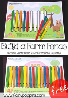 Free farm themed number ordering mats (0 to 20), use with popsicle sticks ~ Fairy Poppins